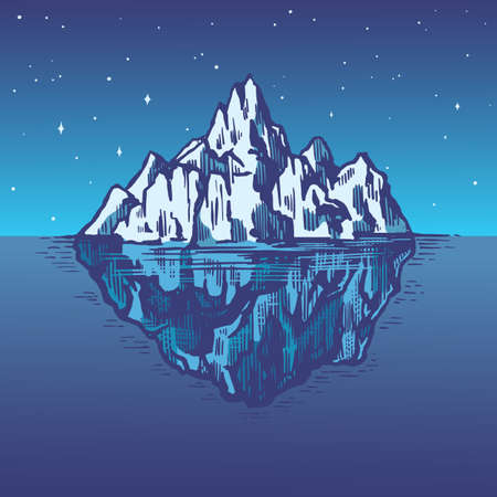 Iceberg in the ocean. A large piece of glacier floating in northern water. Engraved hand drawn vintage sketch for emblem, web, t-shirt. Isolated illustration for Poster, banner or cards.