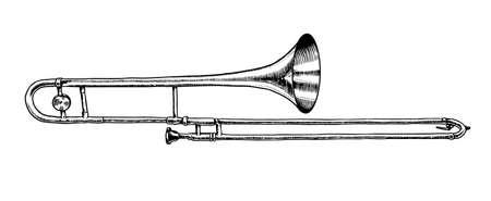 Trombón de instrumentos musicales de viento de jazz. Trompeta clásica de ilustración vectorial en estilo de contorno de doodle. Boceto, emblema o cartel grabado monocromo dibujado a mano.