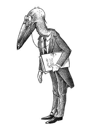 Bird man with a marabou head. Lawyer in a classic office suit with documents. Hand drawn fashionable stork. Engraved old monochrome sketch.