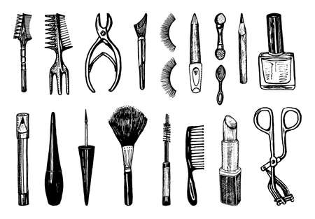 Makeup Tools Set. Doodle A collection of female elements for eyebrows, eyes and face and beauty salon. Hand drawn vintage engraved cosmetology and cosmetics sketch outline