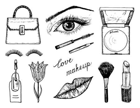Makeup Tools Set. Doodle A collection of female tools and elements for a beauty salon. Hand drawn vintage engraved sketch outline. Eye, Lips, blush and maquillage, toiletry and cosmetology, cosmetics.