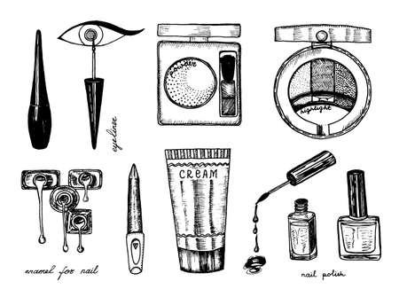Makeup Tools Set. Doodle A collection of female tools and elements for a beauty salon. Hand drawn vintage engraved sketch outline. Blush and maquillage, toiletry and cosmetology, cosmetics