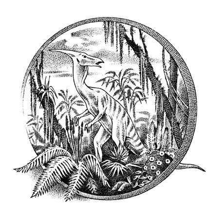Vintage landscape with a dinosaur in the rainforest. Old retro Template for label. Hand drawn engraved monochrome sketch. Vector illustration 向量圖像