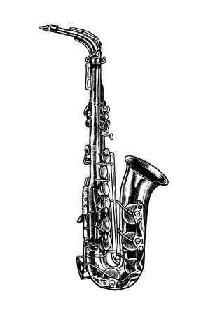 Sassofono jazz in stile vintage inciso monocromatico. Schizzo di tromba disegnato a mano per il poster del festival blues e ragtime. Strumento a fiato classico musicale.