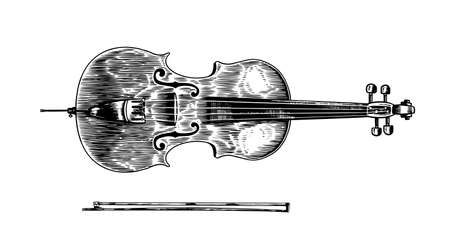 Jazz cello and bow in monochrome engraved vintage style. Hand drawn violoncello sketch for blues and ragtime festival poster. Musical classical stringed instrument.