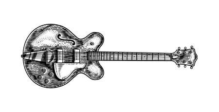 Semi-acoustic jazz bass guitar in monochrome engraved vintage style. Hand drawn sketch for Rock festival or blues and ragtime poster or t-shirt. Musical classical stringed electro instrument.