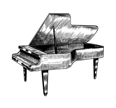 Grand piano in monochrome engraved vintage style. Hand drawn sketch. Musical jazz classical keyboard instrument. 向量圖像