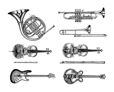 Jazz classical wind and stringed instruments set. Musical Trombone Trumpet Flute Bass guitar Semi-acoustic French horn Cello Tuba Violin. Hand drawn monochrome engraved vintage sketch. Illustration