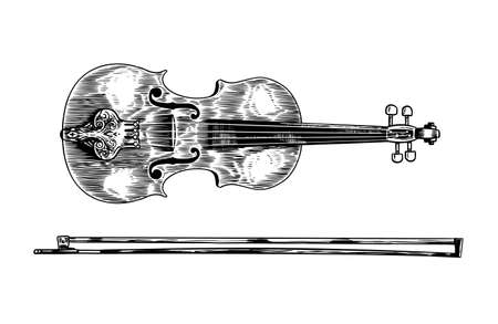 Jazz violin and bow in monochrome engraved vintage style. Hand drawn fiddle sketch for blues and ragtime festival poster. Musical classical stringed instrument.