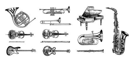 Jazz classical wind instruments set. Musical Trombone Trumpet Flute Bass guitar Semi-acoustic French horn Saxophone Cello Tuba Violin Piano. Hand drawn monochrome engraved vintage sketch. Иллюстрация