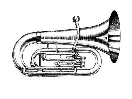 Jazz-Tuba im monochromen gravierten Vintage-Stil. Handgezeichnete Trompetenskizze für Blues- und Ragtime-Festivalplakat. Musikalisches klassisches Blasinstrument.