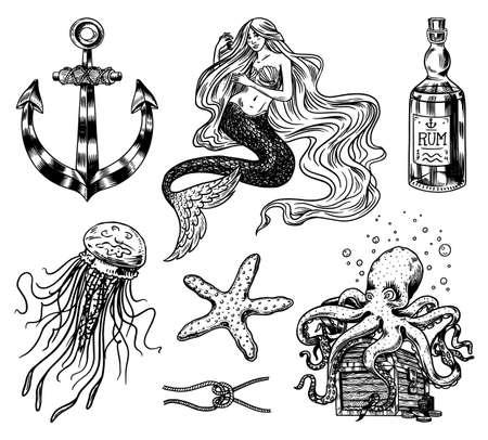 Nautical adventure set. Sea mermaid, anchor and marine captain, octopus and shipping sail, old sailor, ocean waves, seaman and lifebuoy. Hand drawn engraved old sketch.