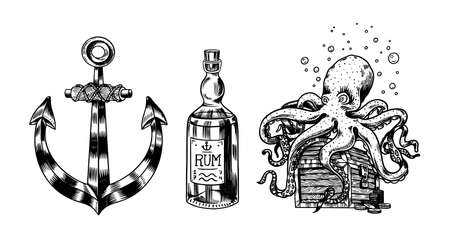 Nautical Anchor and glass bottle, Sea octopus and marine devilfish, ocean waves. Hand drawn monochrome retro engraved old sketch. Vector illustration for tattoo or emblems. 向量圖像