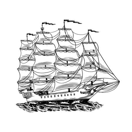 Sailboat in the sea, summer adventure, active vacation. Seagoing vessel, marine ship or nautical caravel. Water transport in the ocean for sailor and captain. Engraved hand drawn in vintage style. 向量圖像