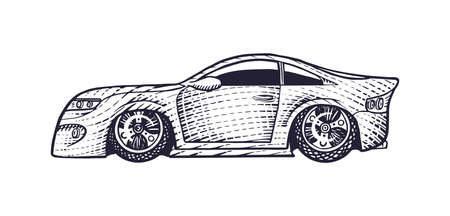 Car icon. Hand drawn engraved sketch for label or banner. Vector illustration in doodle style.