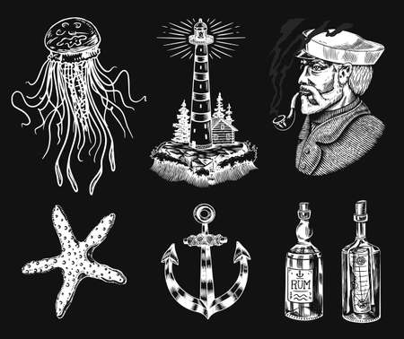Nautical adventure set. Sea lighthouse and marine captain and old sailor, ocean waves, seaman and lifebuoy. Hand drawn engraved old sketch. 向量圖像