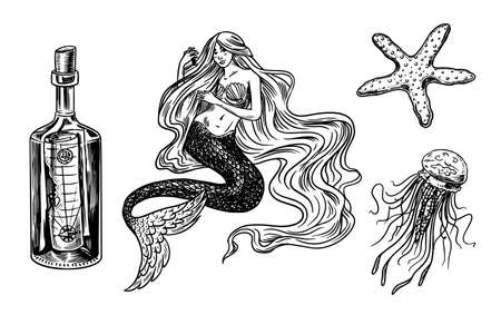 Nautical mermaid and marine bottle, jellyfish and ocean waves, Gorgon and medusa. Hand drawn vintage retro monochrome engraved old sketch. 向量圖像