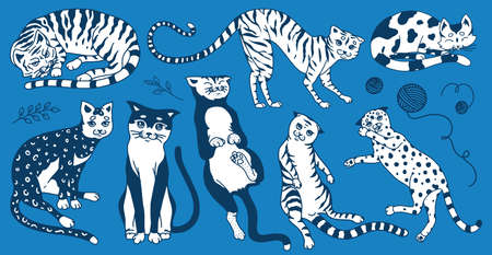 Collection of cats. Washing, playing and sleeping animals. Cute funny Domestic kitty on a blue background. Hand drawn engraved sketch for banner or t-shirt. Monochrome vintage doodle style