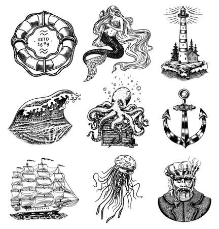 Nautical adventure set. Sea lighthouse, mermaid and marine captain, octopus and shipping sail, old sailor, ocean waves, seaman and lifebuoy. Hand drawn engraved old sketch.