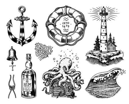 Conjunto de aventura náutica. Faro de mar, medusas y pulpos marinos y vela de navegación, marinero viejo, olas del mar y salvavidas. Boceto antiguo grabado dibujado a mano.