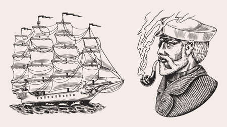 Nautical sailing ship in the sea. Captain or sailor with pipe. Seaman with beard. Seagoing vessel, marine Sailboat, nautical caravel. Water transport in the ocean. Engraved hand drawn in vintage style