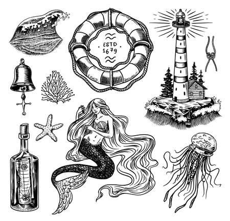 Nautical adventure set. Sea lighthouse, mermaid and marine ocean waves, seaman and lifebuoy. Hand drawn engraved old sketch. 向量圖像