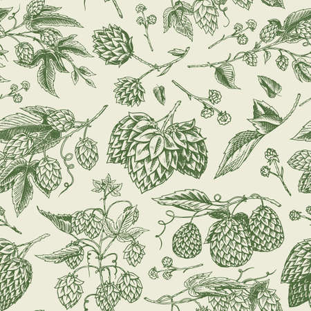 Hops and Barley Seamless pattern. Malt Beer. Engraved vintage Hand drawn collection. Sketch for web or pub menu, poster or banner. Design elements isolated on white background.