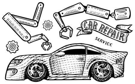 Car with a ribbon and the inscription Repair. Tools for transport service, wrench and instruments. Hand drawn engraved sketch for label or banner. Vector illustration in doodle style.