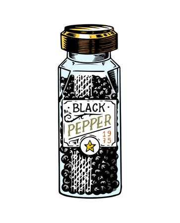 Glass bottle of Black pepper in Vintage style. Dried seeds, a bunch of spices. Allspice or peppercorn. Herbal seasoning for cooking. Engraved hand drawn vector sketch for background