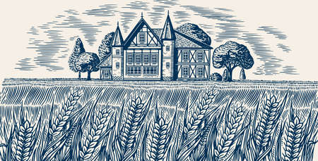 Brewery on the background of wheat and barley. Scenic view of Rural landscape, village field and hill, retro wooden building. Hand drawn monochrome vintage sketch for beer or alcoholic beverage label Banque d'images - 139458158