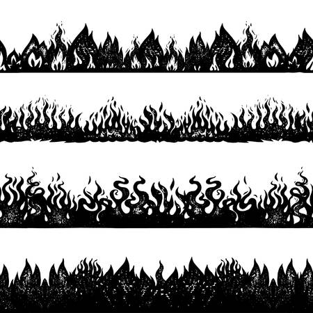 Flame and fire background. Seamless pattern in vintage style. Hand drawn engraved bonfire sketch for printing decorative adhesive tapes or cards. Vector illustration for posters, banners. Vector Illustration