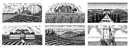 Vineyards Set. Vine plantation for bottle labels. Scenic view of French or Italian engraved landscape. Mountains Rural Fields Wheat Hills. Hand drawn vintage sketch for alcohol, whiskey beer poster.
