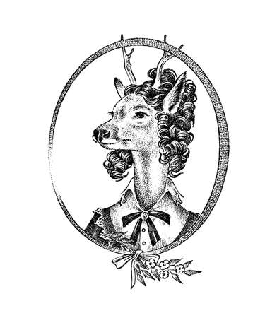 Animal character. Deer lady or doe with flowers. Hand drawn portrait. Engraved old monochrome sketch for card, label or tattoo. Anthropomorphism in hipster style.  イラスト・ベクター素材