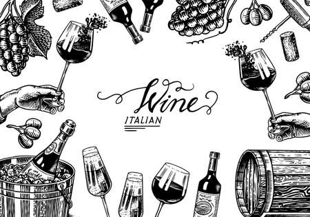 Wine background template. Alcoholic drink in the hand. Sparkling wine champagne, bottle and glass, wooden barrel. Grapes Olives Cork. Drawn engraved sketch for bar, restaurant menu banner or poster.  イラスト・ベクター素材