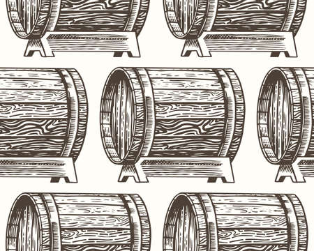 Wooden oak barrels of aged wine or beer. Seamless pattern. Vessels and kegs with alcohol brandy or whiskey. Vintage Cask background. Hand Drawn engraved sketch for bar menu, banner or poster