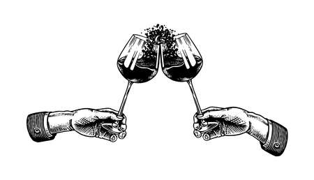 Cheers toast and clink glasses of wine in hand. Celebration concept. Red grape alcoholic drink. Vintage badge. Splashing alcohol Template Label. Semi sweet dry drink. Drawn engraved.  イラスト・ベクター素材