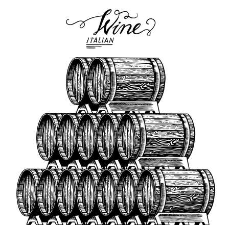 Wooden oak barrels of aged wine. Pyramidal pile of Vessels and kegs with French alcohol brandy or whiskey. Vintage Cask for Beverage maturing. Hand Drawn engraved sketch for bar menu banner or poster