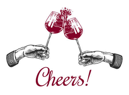 Cheers toast and clink glasses of wine in hand. Celebration concept. Red grape alcoholic drink. Vintage badge. Splashing alcohol Template Label. Semi sweet dry drink. Drawn engraved