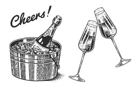Cheers toast. Clink glasses of champagne or sparkling wine in hand. Celebration concept. Grape alcoholic drink. Vintage badge. Splashing alcohol Template Label. Semi sweet dry drink. Drawn engraved