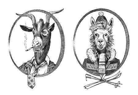 Animal character. smoking goat student and alpaca or Llama or Guanaco skier. Hand drawn portrait. Engraved old monochrome sketch for card, label or tattoo. Anthropomorphism in hipster style