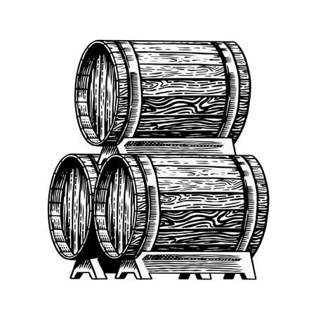 Wooden barrel with alcohol. Vessel with wine, brandy or whiskey. Cask in vintage style. Hand Drawn engraved sketch for bar, restaurant menu, banner or poster.
