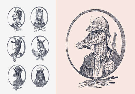 Animal characters set. Crocodile safari hunter Llama Deer lady Walrus Goat Dog Donkey Alpaca. Hand drawn portrait. Engraved monochrome sketch for card, label or tattoo. Hipster Anthropomorphism.