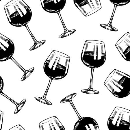 Wine Seamless pattern. Alcoholic drink or Sparkling champagne, bottle and glass. Vintage poster or banner. Hand Drawn engraved sketch for bar, winery background, restaurant menu.  イラスト・ベクター素材