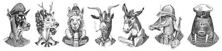 Animal characters set. Smoking Goat Llama skier Deer lady Walrus Crocodile Dog Donkey Alpaca. Hand drawn portrait. Engraved monochrome sketch for card, label or tattoo. Hipster Anthropomorphism.