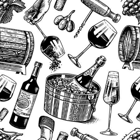 Wine Seamless pattern. Alcoholic drink or Sparkling champagne, bottle and glass Cheers, wooden barrel. Vintage poster or banner. Hand Drawn engraved sketch for bar, winery background, restaurant menu.