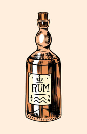 Sea glass bottle of rum. Nautical or marine alcohol, ocean drink of pirates and sailors. Hand drawn monochrome retro engraved old sketch. Vector illustration for tattoo or emblems.  イラスト・ベクター素材