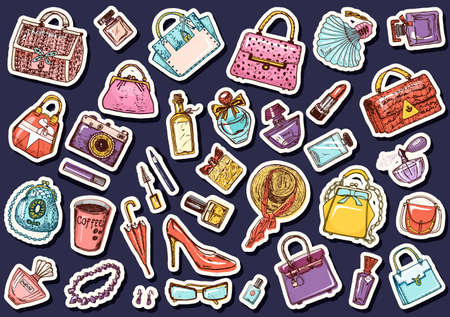 Set of Sticker accessories for girls. Bags and Perfumes, shoes and coffee. Women Collection. Hand drawn engraved vintage sketch, items in doodle style. Patch for notebooks or posters, flat lay, web.  イラスト・ベクター素材