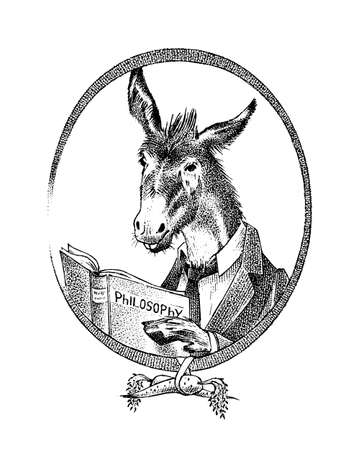 Donkey philosopher character or goat thinker. Hand drawn Animal person portrait. Engraved monochrome sketch for card, label or tattoo. Hipster Anthropomorphism.