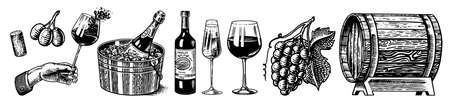 Wine set. Alcoholic drink in the hand. Sparkling champagne, bottle and glass Cheers, ice bucket, wooden barrel. Grapes Corkscrew Olives Cork. Drawn engraved sketch for bar, restaurant menu. Ilustração