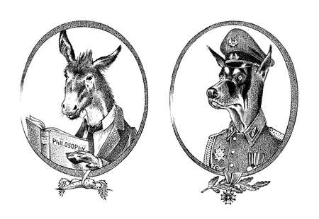 Animal character. Donkey philosopher or goat and military dog or Dobermann. Hand drawn portrait. Engraved old monochrome sketch for card, label or tattoo. Creature anthropomorphism in hipster style.
